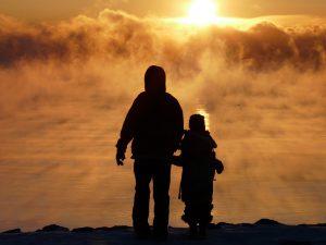Fog Lake Golden Family Father Son Mist Sunrise